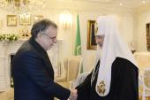 Святейший Патриарх Кирилл встретился с министром по вопросам международного сотрудничества и интеграции Италии Андреа Риккарди