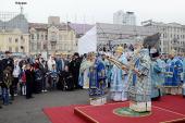 В праздник Рождества Пресвятой Богородицы Предстоятель Русской Церкви совершил Литургию на Центральной площади г. Владивостока