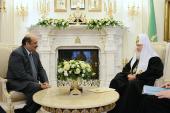 Святейший Патриарх Кирилл принял Чрезвычайного и Полномочного Посла Индии в России Аджая Малхотру