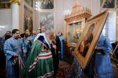 Святейший Патриарх Кирилл освятил точный список Владимирской иконы Божией Матери для храма в Вышгороде близ Киева