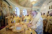Святейший Патриарх Кирилл совершил Литургию в Свято-Никольском Черноостровском монастыре Малоярославца и возглавил хиротонию архимандрита Филарета (Конькова) во епископа Барышского и Инзенского