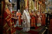 В день Собора Архистратига Михаила и прочих Небесных Сил бесплотных Предстоятель Русской Церкви совершил Литургию в Архангельском соборе Кремля