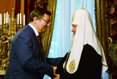 Святейший Патриарх Кирилл встретился с губернатором Тамбовской области О.И. Бетиным и митрополитом Тамбовским Феодосием