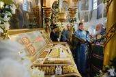 Предстоятель Русской Церкви совершил молебен у раки с мощами святителя Тихона, Патриарха Всероссийского, в Донском монастыре