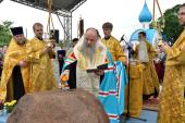 Митрополит Санкт-Петербургский и Ладожский Варсонофий совершил освящение закладного камня храма Всемилостивого Спаса в Санкт-Петербурге