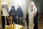 Святейший Патриарх Кирилл вознес молитву о упокоении души новопреставленного митрополита Киевского Владимира