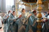 Святейший Патриарх Кирилл совершил Божественную литургию в Новодевичьем монастыре г. Москвы и возглавил хиротонию архимандрита Агафангела (Дайнеко) во епископа Норильского и Туруханского
