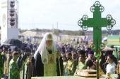 Крестный ход из г. Хотьково в Сергиев Посад завершился Патриаршим молебном на Благовещенском поле