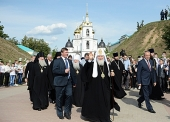 Предстоятель Русской Церкви посетил Успенский кафедральный собор в подмосковном Дмитрове