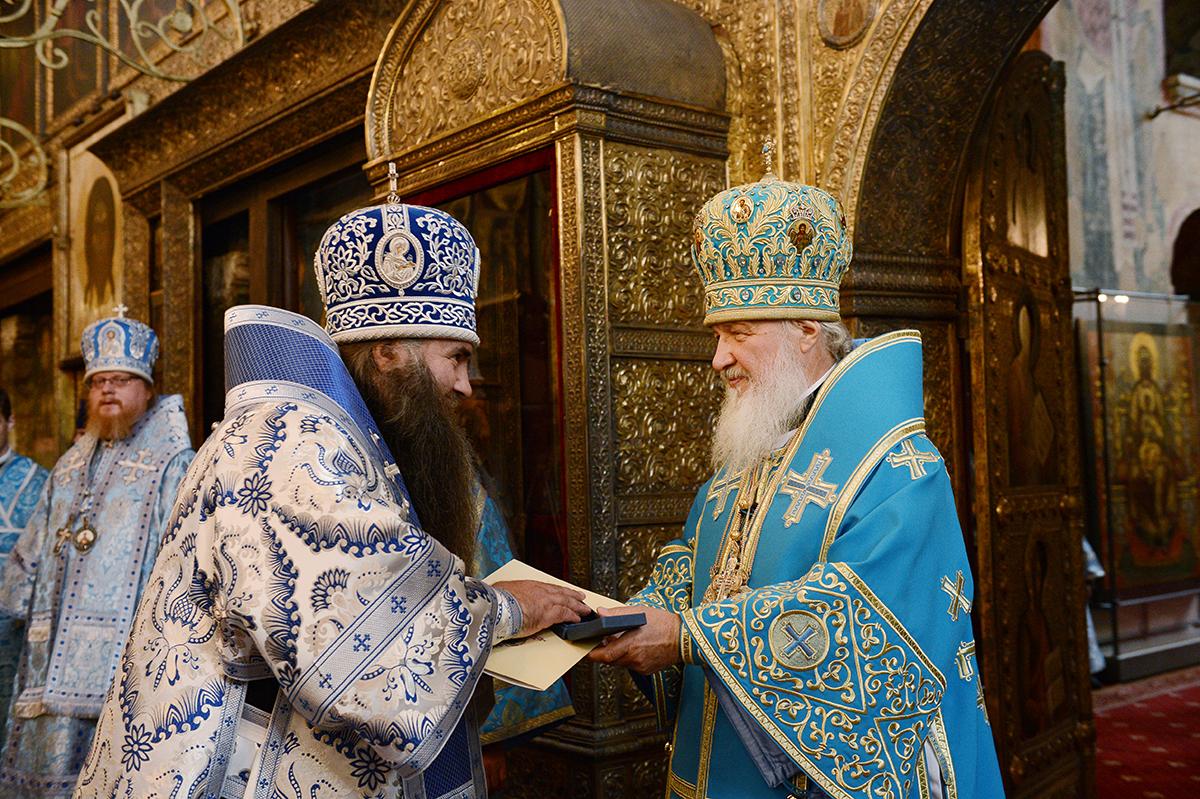 Патриаршее служение в праздник Успения Божией Матери в Успенском соборе Московского Кремля