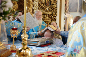 В праздник Донской иконы Божией Матери Предстоятель Русской Церкви совершил Литургию в Донском ставропигиальном монастыре