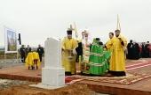 Святейший Патриарх Кирилл совершил освящение закладного камня в основание храма в честь святого князя Владимира в Тушино
