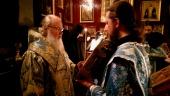 В канун праздника Рождества Пресвятой Богородицы Святейший Патриарх Кирилл совершил всенощное бдение в крестовом храме Патриаршей резиденции в Чистом переулке