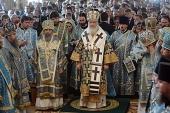В праздник Рождества Пресвятой Богородицы Предстоятель Русской Церкви совершил Литургию в храме прп. Сергия Радонежского на Куликовом поле