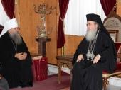 Патриарх Иерусалимский Феофил принял группу паломников из России во главе с митрополитом Санкт-Петербургским и Ладожским Варсонофием