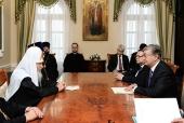 Святейший Патриарх Кирилл встретился с председателем Сената Парламента Республики Казахстан К.К. Токаевым