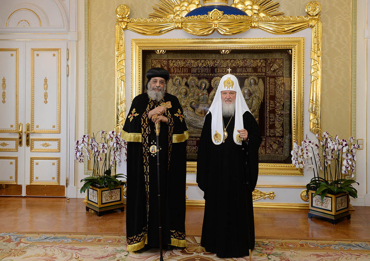 His Holiness Pope Tawadros II – 118th Pope of Alexandria and Patriarch of the See of Saint Mark – Primate of the Coptic Orthodox Church and His Holiness Patriarch Kirill of Moscow and All Russia – Primate of the Russian Orthodox Church.