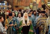 В праздник Казанской иконы Божией Матери Святейший Патриарх Кирилл совершил Литургию в Успенском соборе Московского Кремля