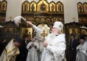 Святейший Патриарх Кирилл совершил освящение храма преподобного Сергия Радонежского на Федеральном военном мемориальном кладбище