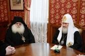 Святейший Патриарх Кирилл встретился с настоятелем афонского монастыря св. Павла архимандритом Парфением