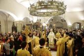 Святейший Патриарх Кирилл совершил богослужение на белградском подворье Русской Православной Церкви