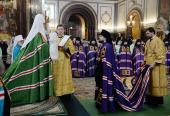 В Неделю 24-ю по Пятидесятнице Предстоятель Русской Церкви совершил Литургию в Храме Христа Спасителя