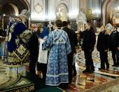 В канун праздника Введения во храм Пресвятой Богородицы Святейший Патриарх Кирилл совершил всенощное бдение в кафедральном соборном Храме Христа Спасителя