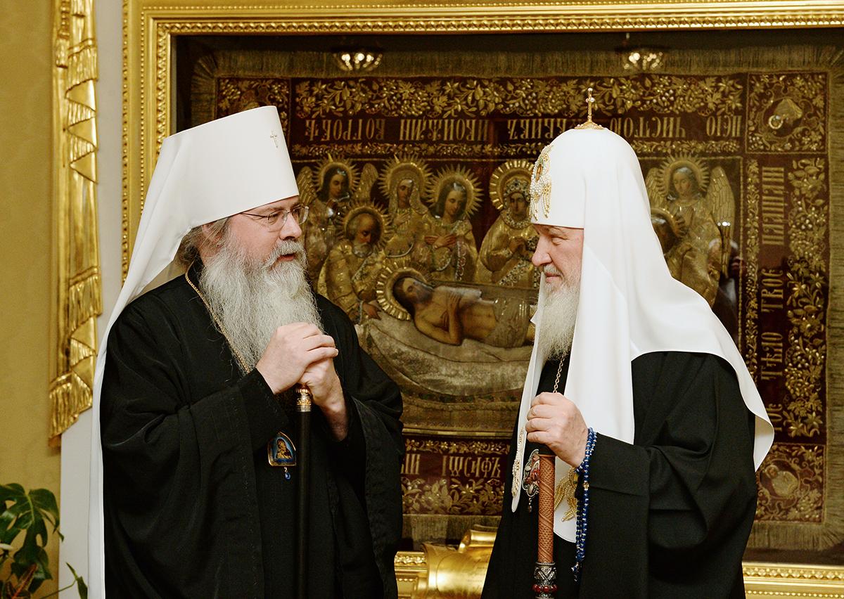 Встреча Святейшего Патриарха Кирилла с Блаженнейшим Митрополитом всей Америки и Канады Тихоном