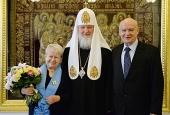 Святейший Патриарх Кирилл наградил А.Н. Пахмутову орденом святой равноапостольной княгини Ольги I степени