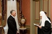 Святейший Патриарх Кирилл наградил губернатора Сахалинской области А.В. Хорошавина орденом преподобного Сергия Радонежского