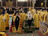 В Прощеное воскресенье Предстоятели Антиохийской и Русской Православных Церквей совершили Литургию в Храме Христа Спасителя в Москве