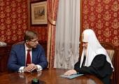 Состоялась встреча Святейшего Патриарха Кирилла с мэром Риги Н.В. Ушаковым