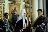 В понедельник первой седмицы Великого поста Святейший Патриарх Кирилл молился за уставным богослужением в Даниловом ставропигиальном монастыре
