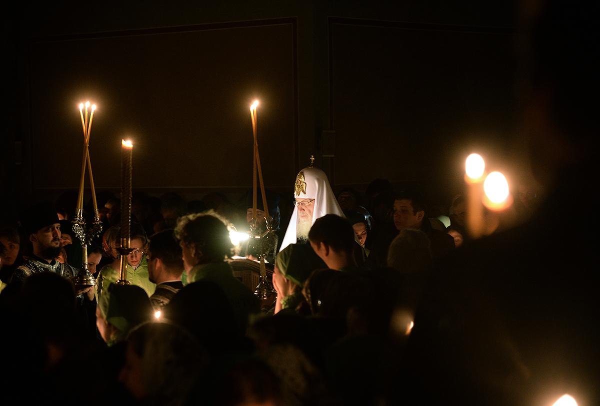 Патриаршее служение во вторник первой седмицы Великого поста в Донском ставропигиальном монастыре. Повечерие с чтением Великого канона прп. Андрея Критского