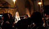 В среду первой седмицы Великого поста Святейший Патриарх Кирилл совершил повечерие с чтением Великого канона прп. Андрея Критского в Андреевском ставропигиальном монастыре