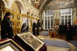 В канун Недели Торжества Православия Святейший Патриарх Кирилл совершил всенощное бдение в Богородице-Рождественском ставропигиальном монастыре