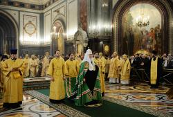 В праздник Торжества Православия Предстоятель Русской Церкви совершил Литургию в Храме Христа Спасителя