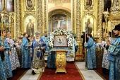 Святейший Патриарх Кирилл совершил утреню с чтением Акафиста Пресвятой Богородице в Богоявленском кафедральном соборе г. Москвы
