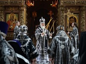 В Великий Понедельник Святейший Патриарх Кирилл совершил Литургию в Высоко-Петровском ставропигиальном монастыре