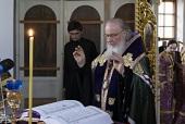 В канун Великого Четверга Святейший Патриарх Кирилл принял участие в вечернем богослужении в Борисоглебском Аносином ставропигиальном монастыре