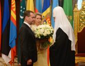 Председатель Правительства Российской Федерации Д.А. Медведев поздравил Святейшего Патриарха Кирилла с тезоименитством