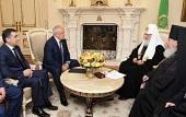 Святейший Патриарх Кирилл встретился с главой Республики Северная Осетия-Алания Т.Д. Мамсуровым и архиепископом Владикавказским и Аланским Зосимой