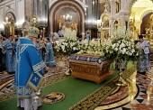 В канун праздника Успения Пресвятой Богородицы Предстоятель Русской Церкви совершил всенощное бдение в Храме Христа Спасителя