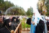 Святейший Патриарх Кирилл освятил Владимирский храм в монастыре на истоке Днепра