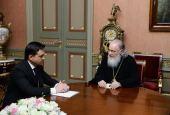Состоялась встреча Предстоятеля Русской Церкви с губернатором Московской области А.Ю. Воробьевым