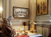 В день памяти Усекновения главы Иоанна Предтечи Святейший Патриарх Кирилл совершил Божественную литургию в Иоанно-Предтеченском монастыре г. Москвы