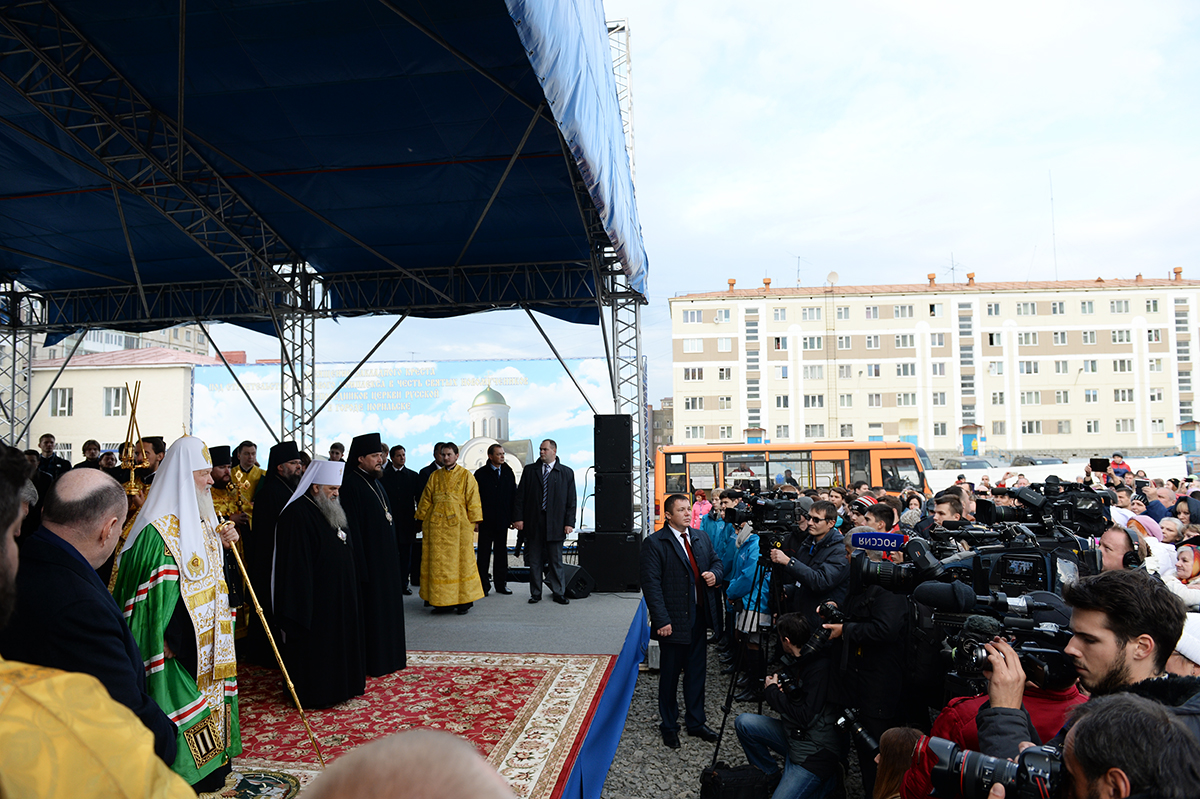 Патриарший визит в Норильскую епархию. Закладка храма святых Новомучеников и исповедников Церкви Русской в Норильске