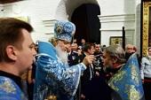 Святейший Патриарх Кирилл совершил утреню в канун праздника Покрова Пресвятой Богородицы в Воскресенском войсковом соборе станицы Старочеркасская