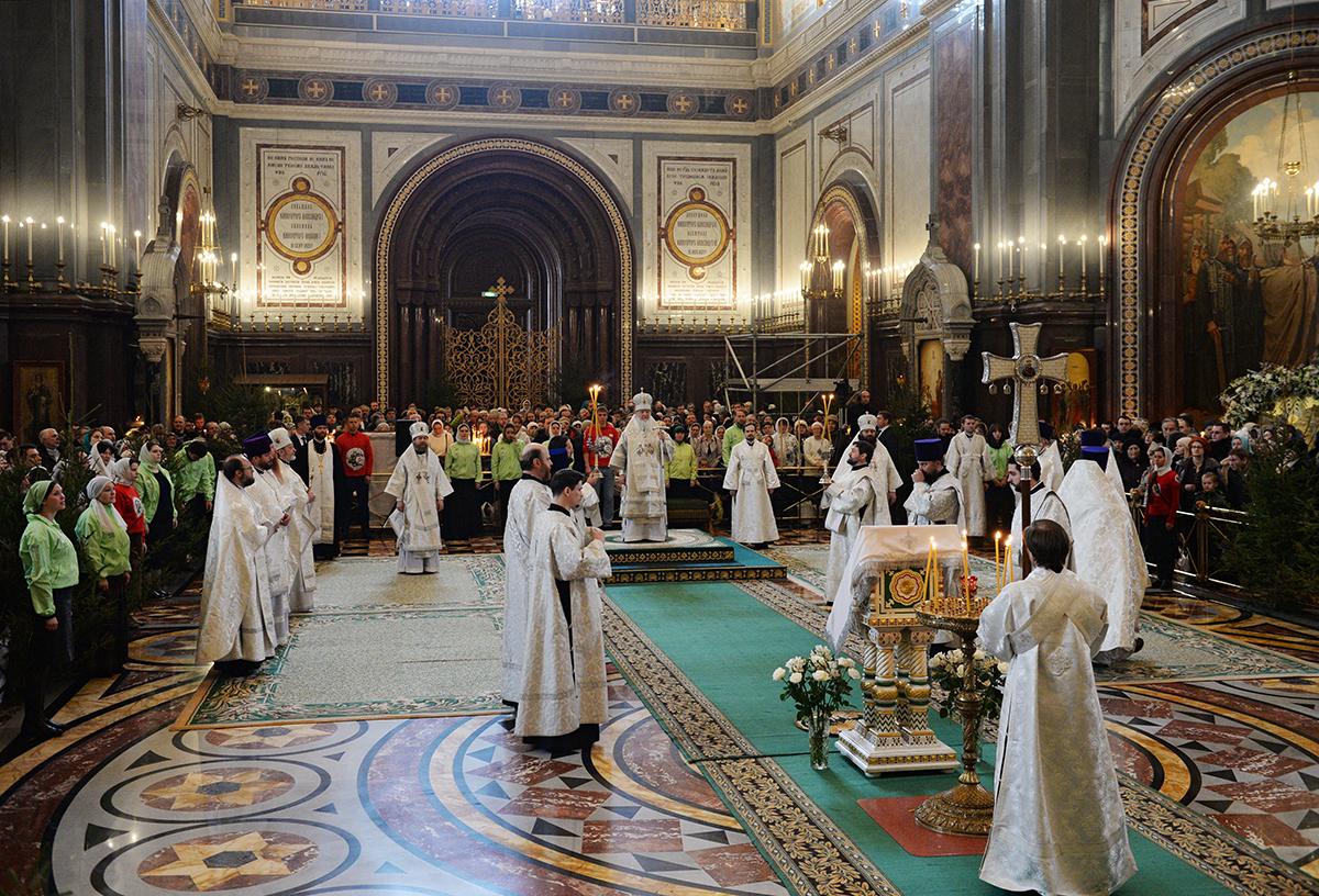 Патриаршее служение в Рождественский сочельник в Храме Христа Спасителя в Москве