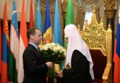 Председатель Правительства Российской Федерации Д.А. Медведев поздравил Предстоятеля Русской Православной Церкви с годовщиной интронизации